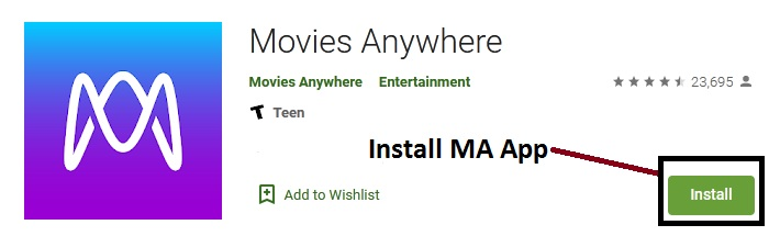 Install Movies Anywhere on Android TV