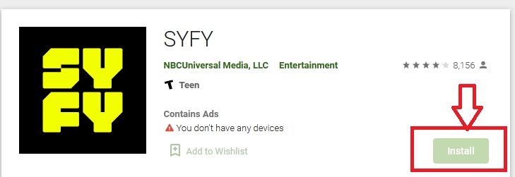 Install Syfy app on Android TV
