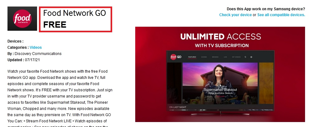 watch foodnetwork com activate on Samsung Smart TV