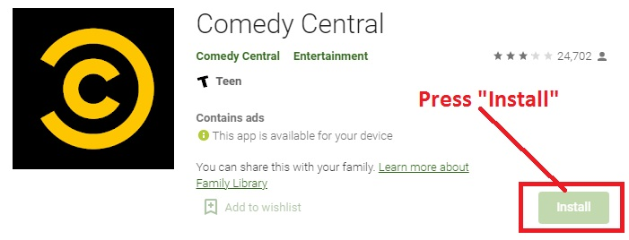Comedy Central on Android TV