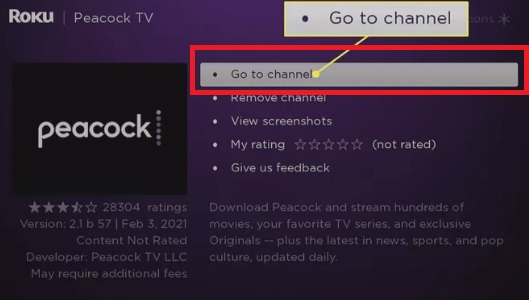 Go to Channel - Peacock on Roku