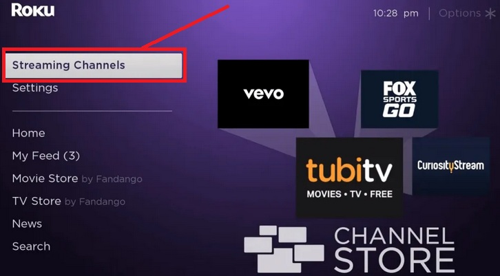 Go to Roku Streaming Channels