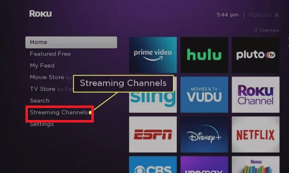 """Click """"Streaming Channels"""" on Roku"""