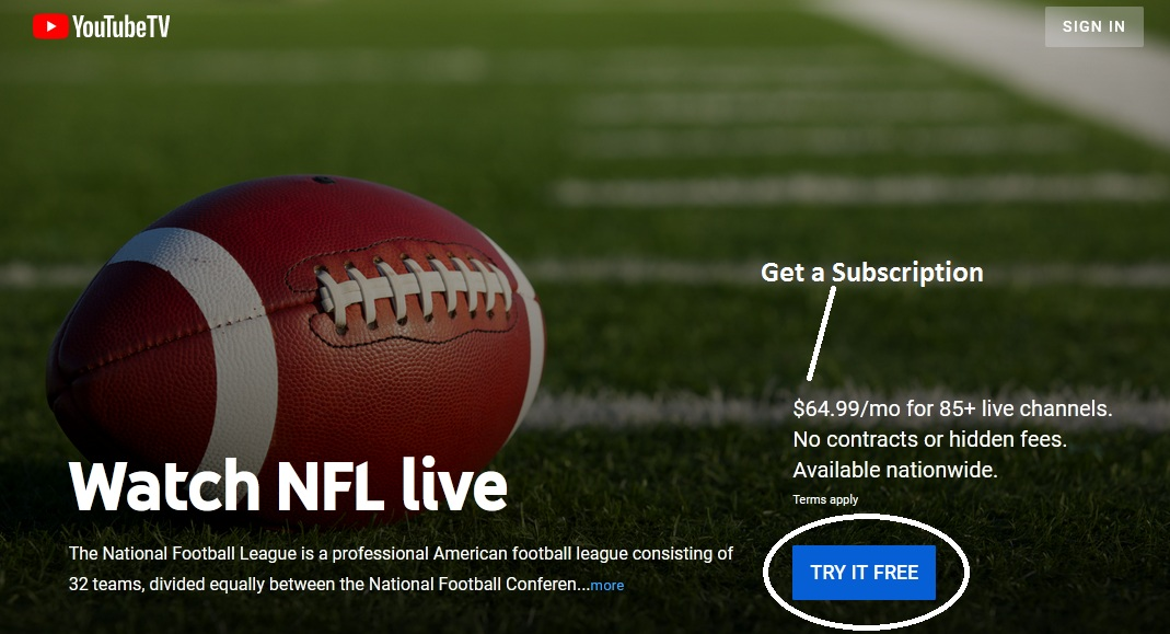 Watch NFL Football Live withYouTube TV