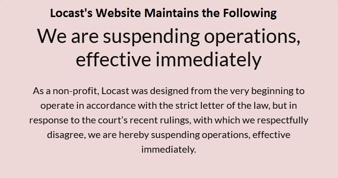 locast org activate operation suspended